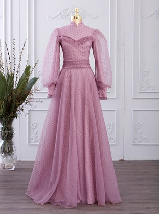Powder - Polka Dot - Fully Lined - Crew neck - Modest Evening Dress