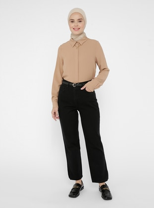 Black - Denim - Cotton - Pants