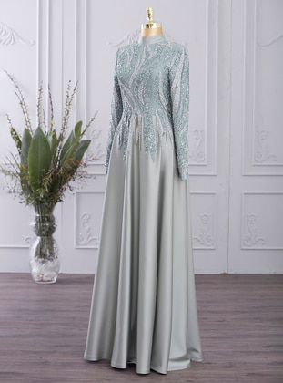 Mint - Fully Lined - Polo neck - Modest Evening Dress