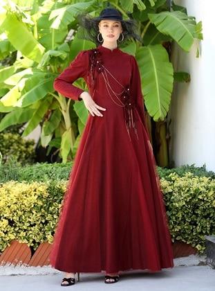 Maroon - Checkered - Unlined - Modest Evening Dress