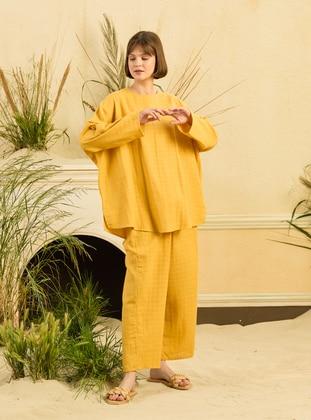 Mustard - Unlined - Cotton - Suit