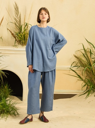 Indigo - Unlined - Cotton - Suit