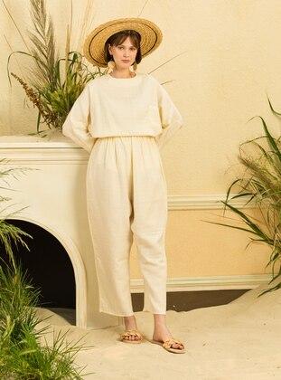 Cream - Unlined - Cotton - Suit