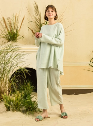 Sea-green - Unlined - Cotton - Suit