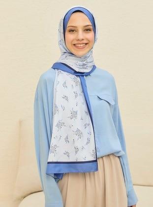 Blue - Floral - Twill - Shawl