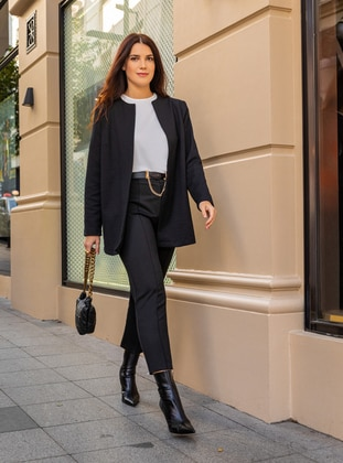 Black - Unlined - Plus Size Jacket - Alia