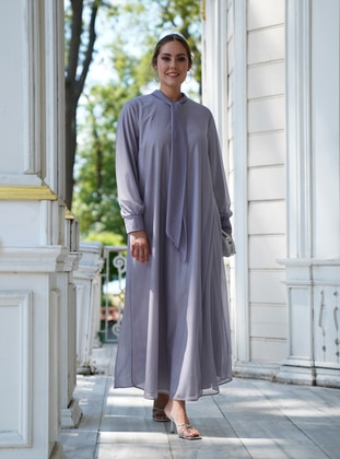 Gray - Fully Lined - Crew neck - Modest Plus Size Evening Dress