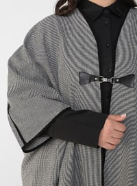 Gray - Black - Multi - Unlined - Plus Size Overcoat