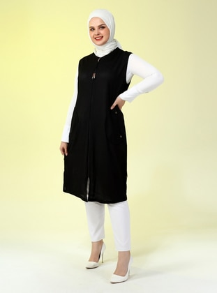 Black - Crew neck - Plus Size Vest