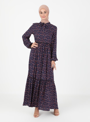 Navy Blue - Multi - V neck Collar - Unlined - Modest Dress