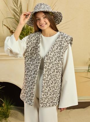 Gray - Stripe - Unlined - V neck Collar - Cotton - Vest