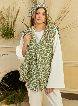 Green - Stripe - Unlined - V neck Collar - Cotton - Vest