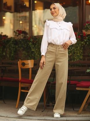 Beige - Denim - Cotton - Pants