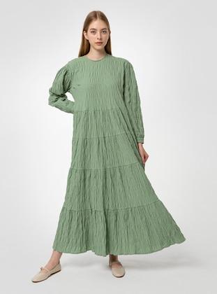 Green - Crew neck - Unlined - Cotton - Modest Dress