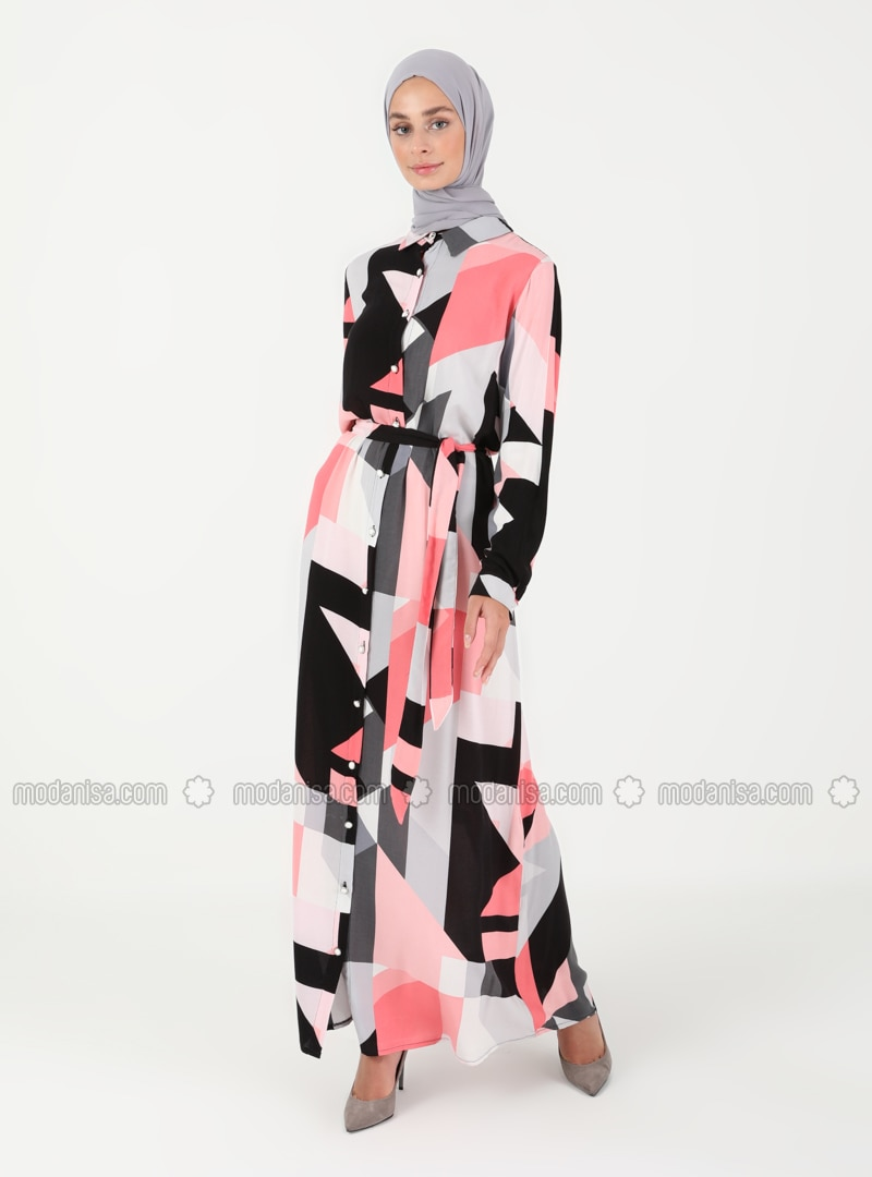 Pink - Multi - Point Collar - Unlined - Modest Dress