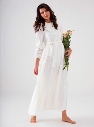 Ecru - Point Collar - Unlined - Modest Dress
