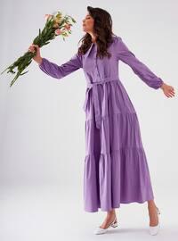 Purple - Point Collar - Unlined - Modest Dress