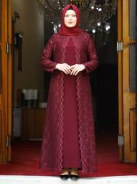 Maroon - Unlined - Crew neck - Modest Plus Size Evening Dress