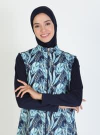 Dark Navy Blue - Floral - Full Coverage Swimsuit Burkini