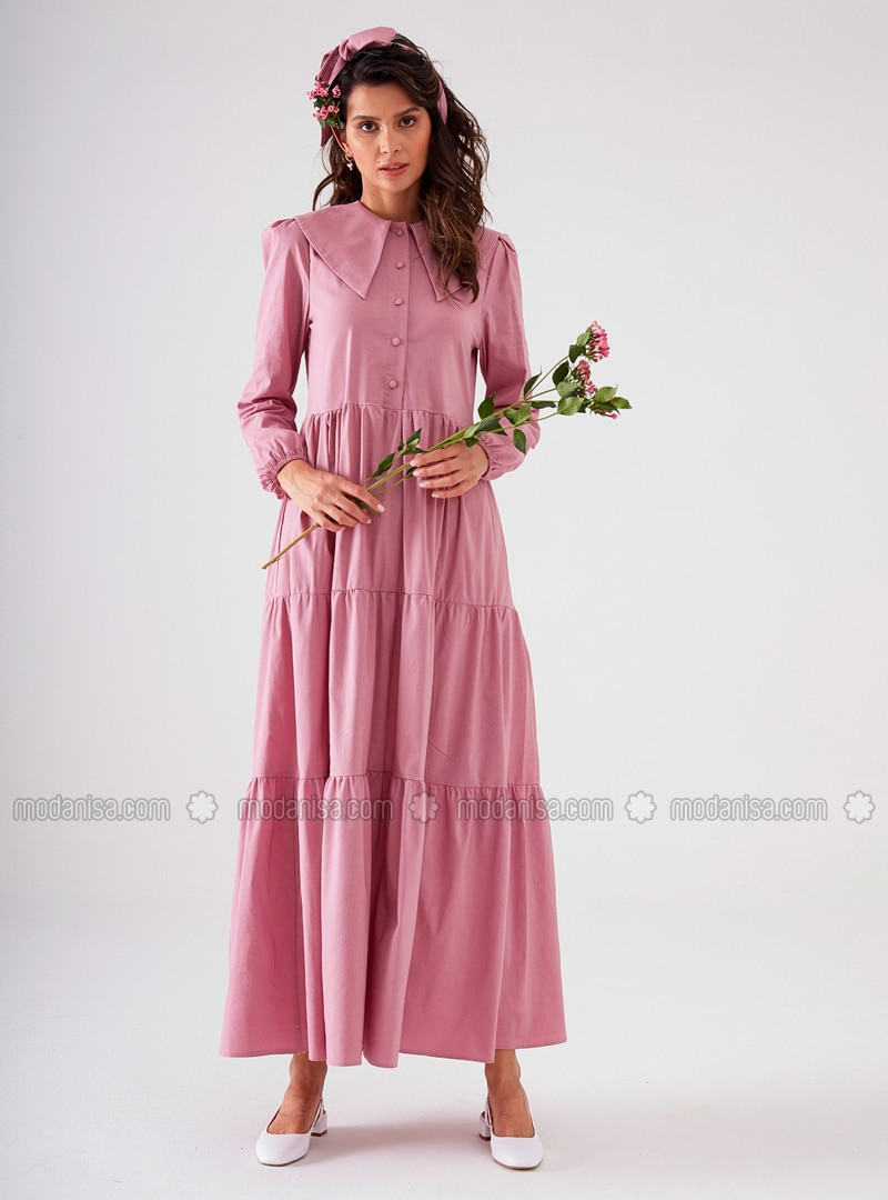 Dusty Rose - Point Collar - Unlined - Modest Dress