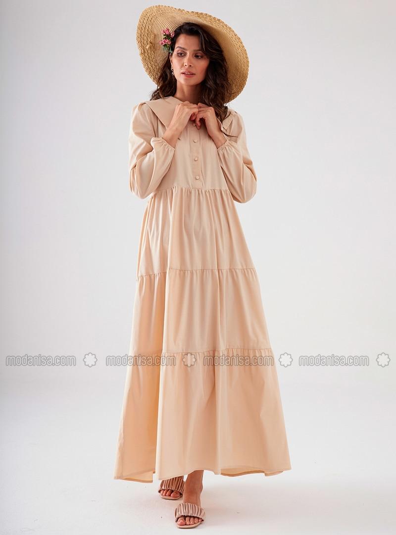 - Point Collar - Unlined - Modest Dress