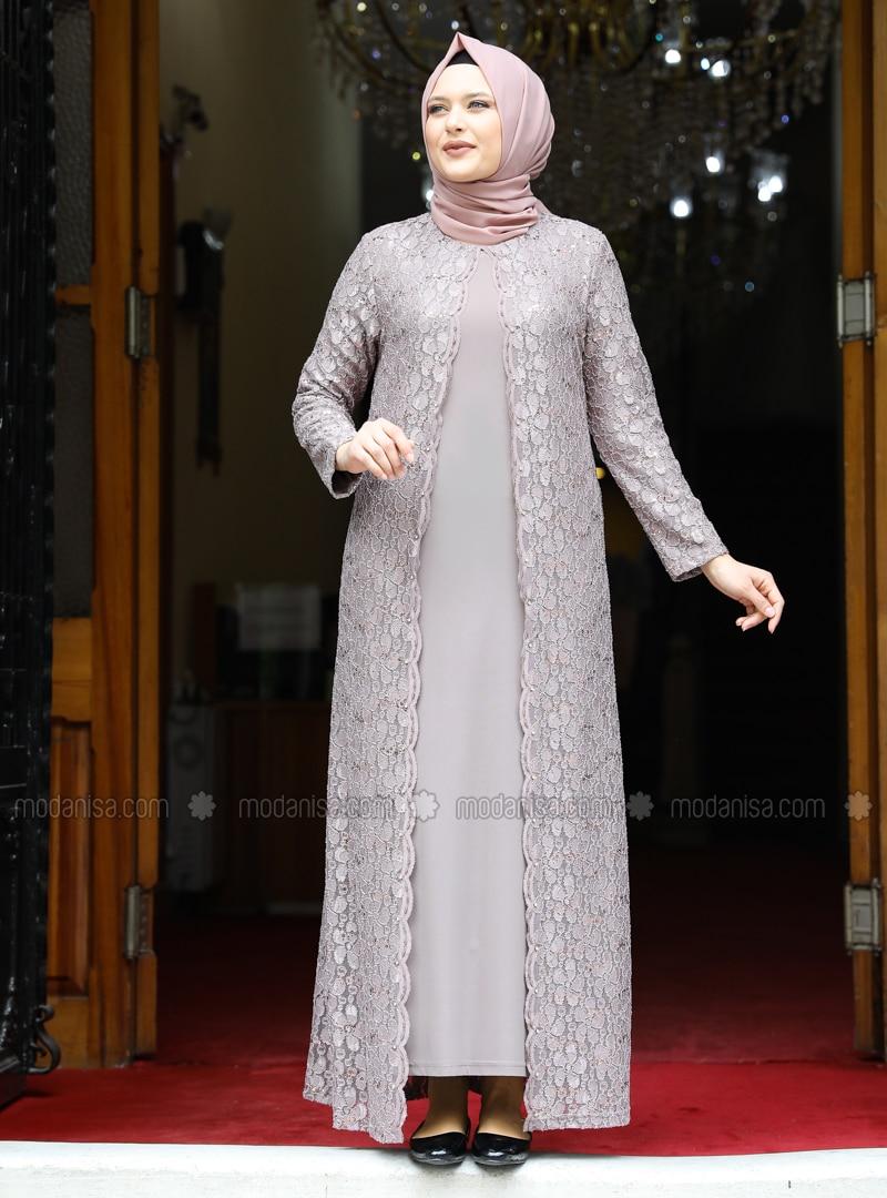 Mink - Unlined - Crew neck - Modest Plus Size Evening Dress