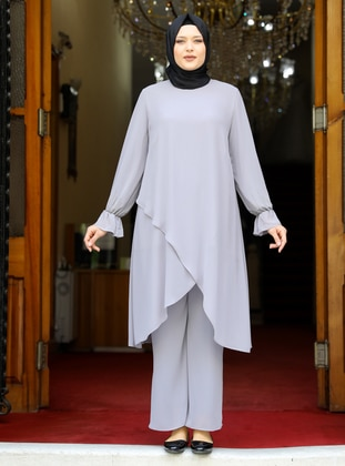 Gray - Crew neck - Fully Lined - Plus Size Evening Suit - Amine Hüma