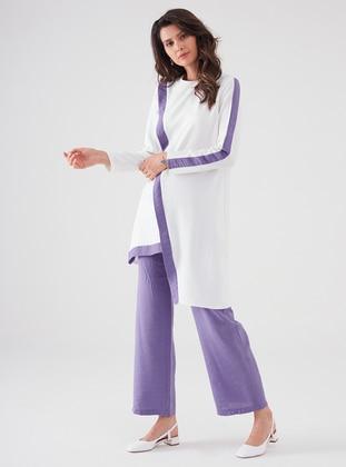 White - Purple - Viscose - Suit