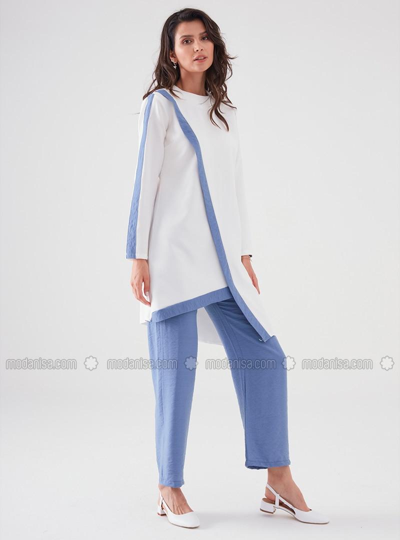 White - Blue - Viscose - Suit