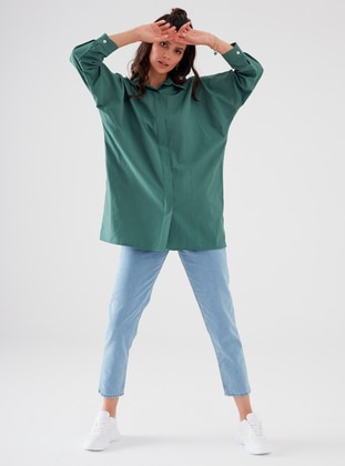 Green - Point Collar - Cotton - - Blouses