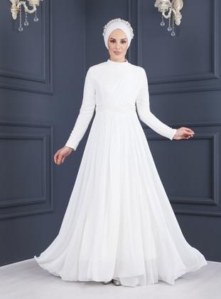 Ecru - White - Ecru - Fully Lined - Polo neck - Modest Evening Dress