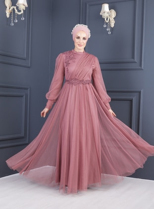 Dusty Rose - Dusty Rose - Fully Lined - Polo neck - Modest Evening Dress