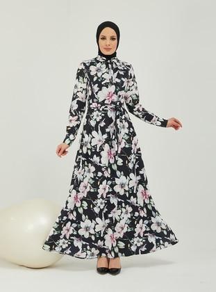 Black - Black - Floral - Fully Lined - Crew neck - Modest Evening Dress