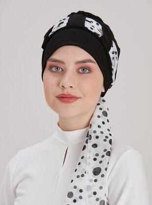 White - Black - Printed - Instant Scarf
