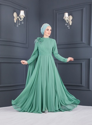 Sea-green - Sea-green - Fully Lined - Polo neck - Modest Evening Dress