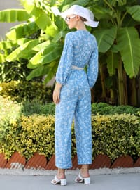 Indigo - Floral - Crew neck - Jumpsuit