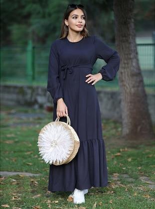 Navy Blue - Crew neck - Cotton - Modest Dress