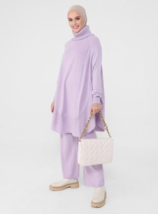 Lilac - Unlined - Acrylic - Triko - Polo neck - Suit