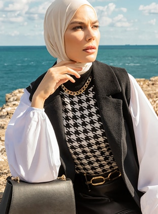 White - Black - Houndstooth - Polo neck - Unlined - Knit Tunics