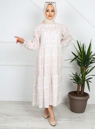 Beige - Printed - Unlined - Cotton - Modest Dress