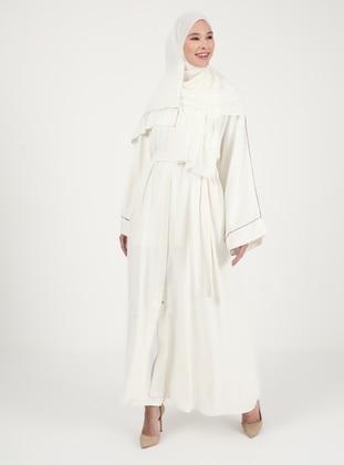 Ecru - Unlined - V neck Collar - Abaya