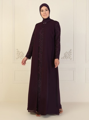 Purple - Fully Lined - Crew neck - Modest Plus Size Evening Dress