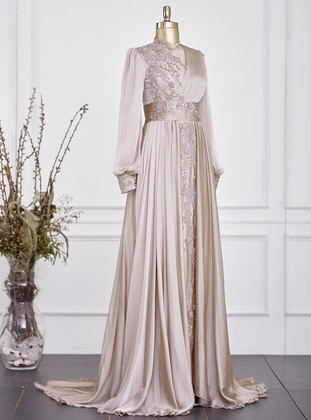 Fully Lined - Beige - Crew neck - Evening Dresses