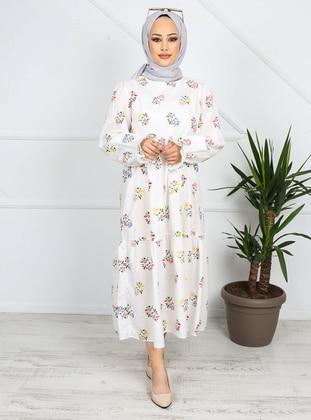 White - Floral - Unlined - Cotton - Modest Dress