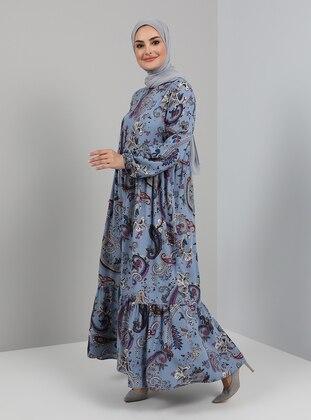 Blue - Shawl - Crew neck - Unlined - Viscose - Modest Dress