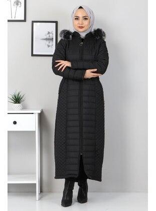 Black - Fully Lined - Coat - Tesettür Dünyası