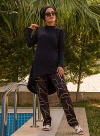 Black - Chain - Full Coverage Swimsuit Burkini