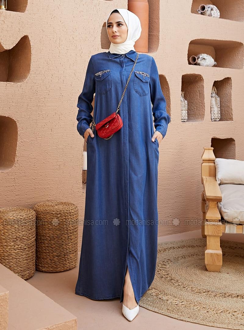 Dark Blue - Point Collar - Denim - Abaya