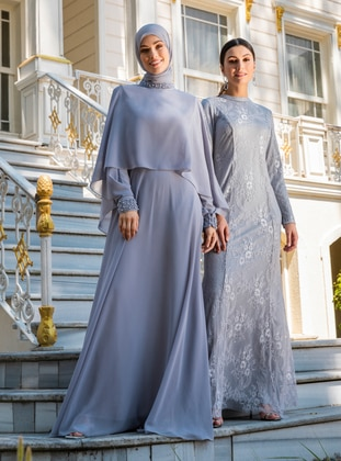 Gray - Fully Lined - Crew neck - Modest Evening Dress