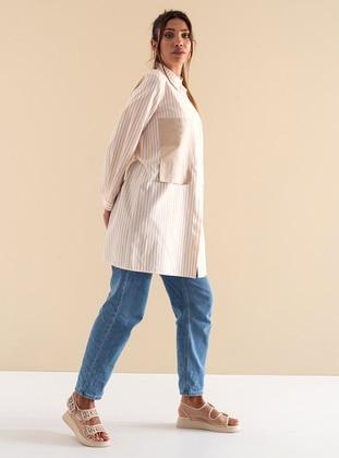Camel - Stripe - Crew neck - Cotton - Viscose - Tunic